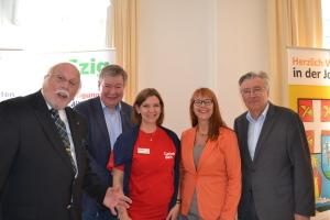 KR Waldbauer und Michael Hemza mit Christina Mittendorfer (Caritas), Dr. Angelika Spitzy-Rosenberger (Vorsitzende des Seniorenbeirats der Stadt Wien) und Karl Fiala
